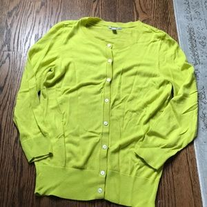 Halogen Nordstrom neon green yellow cardigan Small